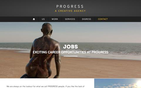 Screenshot of Jobs Page progress.agency - Jobs | PROGRESS: a creative agency - captured Nov. 5, 2017