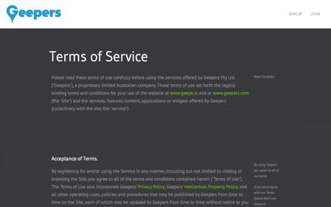 Screenshot of Terms Page geepers.com - Terms and conditions - Geepers - captured Sept. 29, 2014
