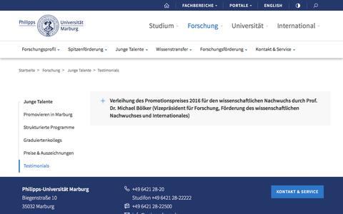 Screenshot of Testimonials Page uni-marburg.de - Testimonials            - Philipps-Universität Marburg - captured July 30, 2017