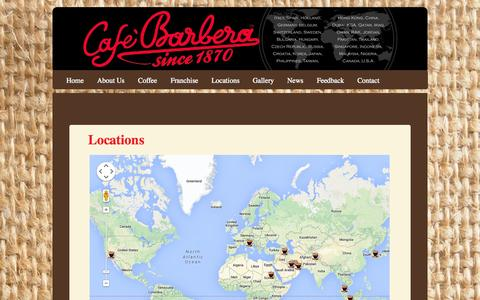 Screenshot of Locations Page cafebarberafranchise.com - Locations  : Cafe Barbera - captured Sept. 26, 2014