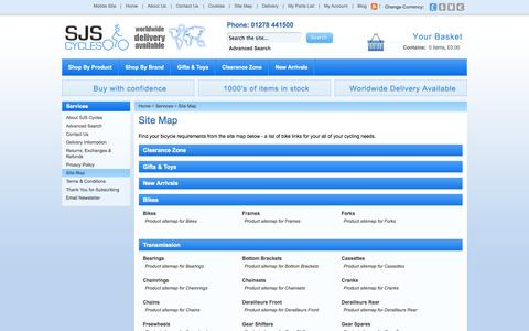 Screenshot of Site Map Page sjscycles.co.uk - Site Map - captured Sept. 23, 2014