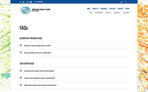 Screenshot of FAQ Page bgc-albany.org - FAQs – Boys & Girls Club of Albany - captured Oct. 11, 2017
