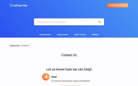 Screenshot of Support Page onupkeep.com - Contact Us - UpKeep Help - captured Oct. 29, 2018