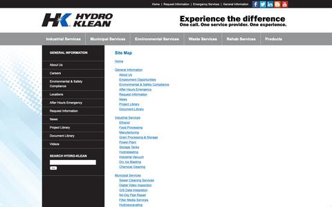 Screenshot of Site Map Page hydro-klean.com - HydroKlean   Site Map - captured Sept. 30, 2018