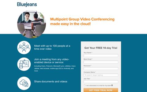 Screenshot of Landing Page bluejeans.com - 25 participants with different endpoints in a group videoconference - captured March 3, 2016