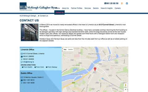 Screenshot of Contact Page hlbmckeoghgallagherryan.ie - Contact Us | HLB McKeogh Gallagher Ryan, Limerick Chartered Accountants & Tax Consultants | hlbmckeoghgallagherryan.ie - captured March 2, 2016