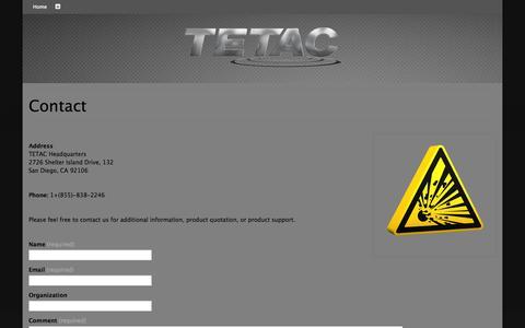 Screenshot of Contact Page tetacinc.com - Contact | TETAC Incorporated - captured Oct. 7, 2014
