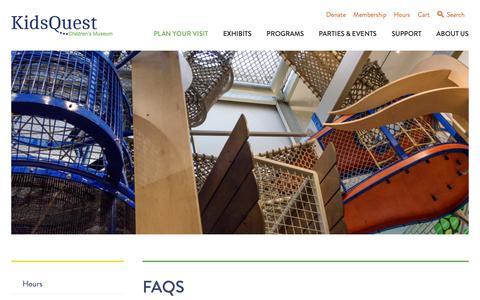 Screenshot of FAQ Page kidsquestmuseum.org - FAQs - Kids Quest Children's Museum - captured Oct. 15, 2018