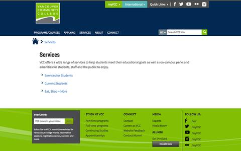 Screenshot of Services Page vcc.ca - Services - Vancouver Community College - captured Nov. 4, 2014