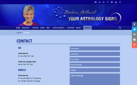 Screenshot of Contact Page yourastrologysigns.com - Contact | Your Astrology Signs - captured Nov. 8, 2018