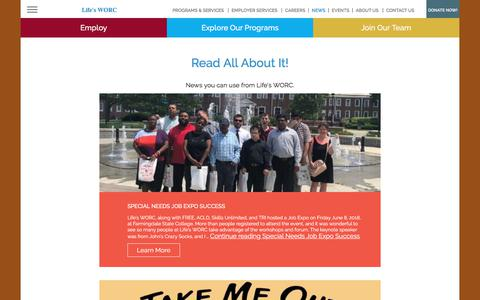 Screenshot of Press Page lifesworc.org - News Archive | Life's WORC - captured July 19, 2018