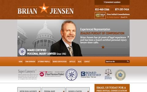 Screenshot of Home Page bjensenlaw.com - Houston Personal Injury Lawyer | Bellaire TX Car Accident Attorney | Truck Wreck - captured Oct. 2, 2014