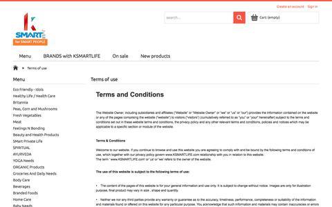 Screenshot of Terms Page ksmartlife.com - Terms of use - KSMARTLIFE.com - captured Sept. 20, 2017