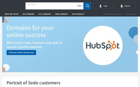 Screenshot of Case Studies Page sedo.com - Case Studies - Sedo customers and their domain success stories - captured Oct. 5, 2018