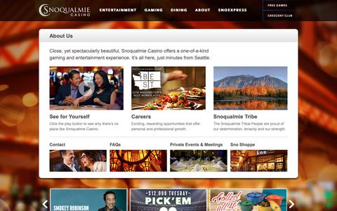 Screenshot of About Page snocasino.com - About Snoqualmie Casino | Seattle's Closest Casino - captured Oct. 19, 2018