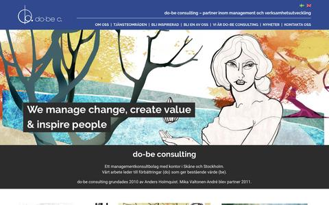 Screenshot of Home Page do-be.se - Do-Be Consulting  do-be consulting – partner inom management och verksamhetsutveckling - captured Feb. 9, 2016