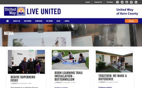 Screenshot of Press Page uwkern.org - Media - United Way of Kern County - captured Nov. 29, 2016