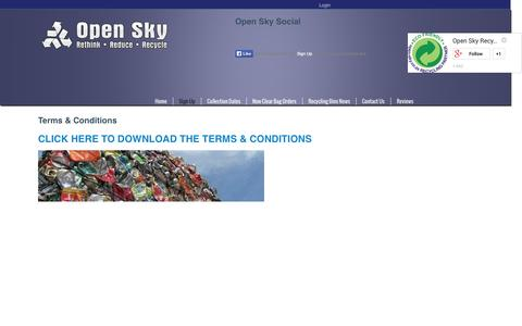 Screenshot of Terms Page open-sky.co.za - Open Sky Recycling Collections pick upsTerms & Conditions - captured Oct. 26, 2014