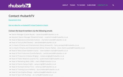 Screenshot of Contact Page rhubarbtv.co.uk - Contact Us    rhubarbTV - captured Nov. 2, 2017