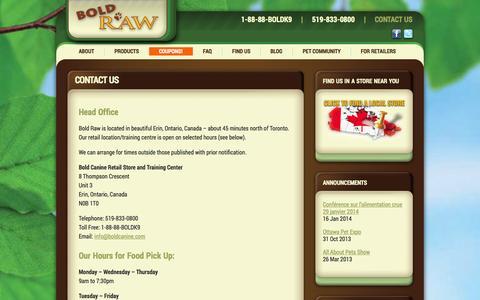 Screenshot of Contact Page boldraw.com - Contact Us - Bold Raw - captured Oct. 5, 2014