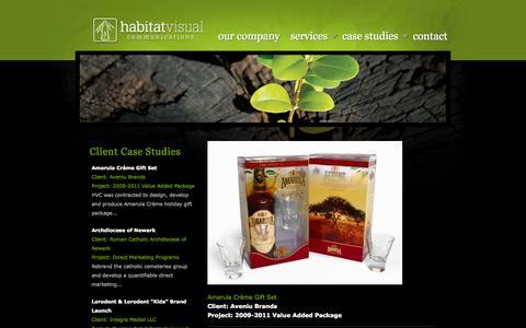 Screenshot of Case Studies Page habitatvc.com - Amarula Crème Gift Set | Habitat Visual Communications - captured Oct. 1, 2014