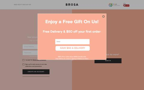 Screenshot of Signup Page brosa.com.au - Sign up to Become a Brosa Family Member for Free - captured Aug. 1, 2018