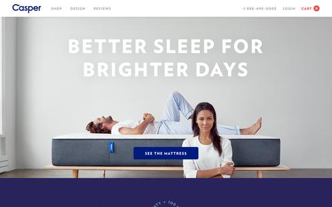 Screenshot of Home Page casper.com - Better Sleep for Brighter Days | Casper - captured Oct. 30, 2015
