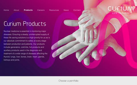 Screenshot of Products Page curiumpharma.com - Products – Curium - captured Feb. 14, 2018