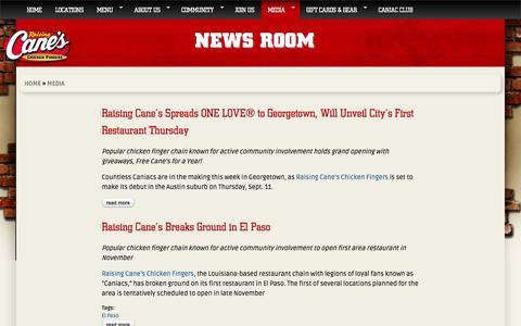 Screenshot of Press Page raisingcanes.com - News Room | Raising Cane's | Chicken Fingers | Cane's Sauce - captured Sept. 24, 2014