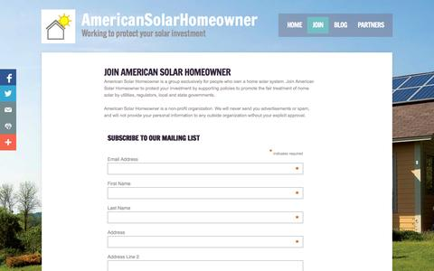 Screenshot of Signup Page americansolarhomeowner.org - AmericanSolarHomeowner.org - captured Oct. 4, 2014