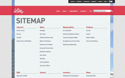 Screenshot of Site Map Page lilly.com - Sitemap - captured April 4, 2016