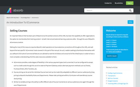 Screenshot of Support Page absorblms.com - An Introduction to eCommerce – Absorb LMS Help Desk - captured Jan. 11, 2020