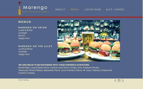 Screenshot of Menu Page marengosf.com - Marengo Menu - captured Nov. 19, 2016