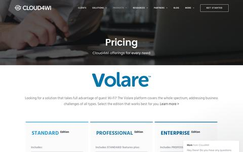 Screenshot of Pricing Page cloud4wi.com - Cloud4Wi - Pricing - See what tiered packages we offer - captured May 9, 2017