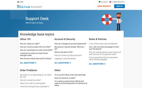 Screenshot of Support Page ultius.com - Customer Support Desk | Ultius - captured July 13, 2018