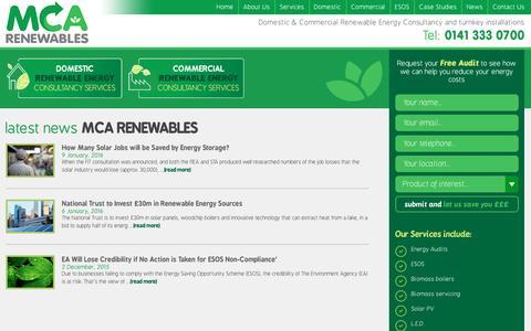 Screenshot of Press Page mcarenewables.com - News | MCA Renewables - captured Nov. 15, 2016