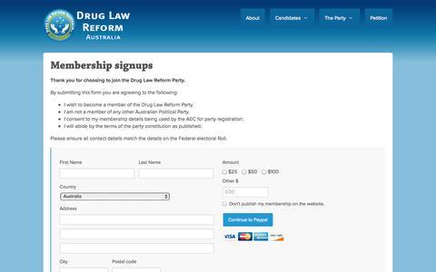 Screenshot of Signup Page nationbuilder.com - Membership signups - Drug Law Reform Australia Party - captured Sept. 16, 2014