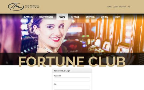 Screenshot of Login Page fortmcdowellcasino.com - Club Login Club - captured Nov. 25, 2016