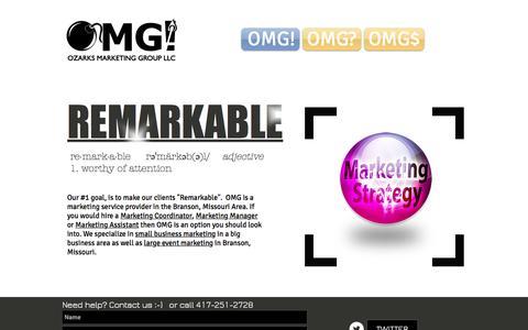 Screenshot of Home Page ozarksmarketinggroup.com - OMG Ozarks Marketing Group Graphics Design Marketing and More. - captured Feb. 15, 2016