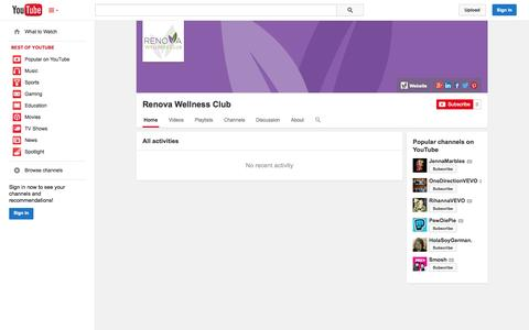 Screenshot of YouTube Page youtube.com - Renova Wellness Club  - YouTube - captured Oct. 26, 2014