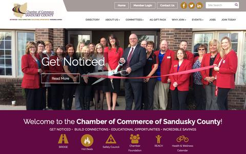 Screenshot of Home Page scchamber.org - Home - Chamber of Commerce of Sandusky County , OH - captured Sept. 27, 2018