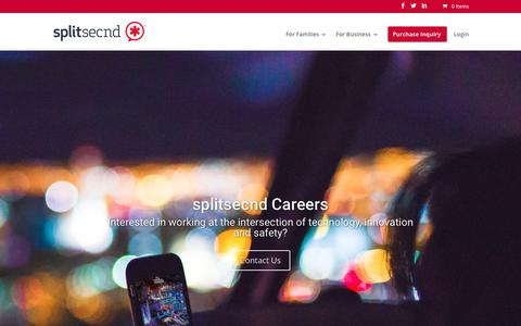 Screenshot of Jobs Page splitsecnd.com - Careers - splitsecnd - captured July 13, 2018