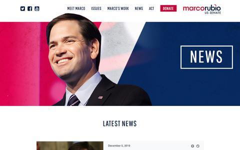 Screenshot of Press Page marcorubio.com - News - captured Jan. 27, 2020