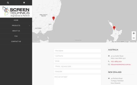 Screenshot of Contact Page screentechnics.com.au - Contact Us   Screen Technics - captured Oct. 1, 2018