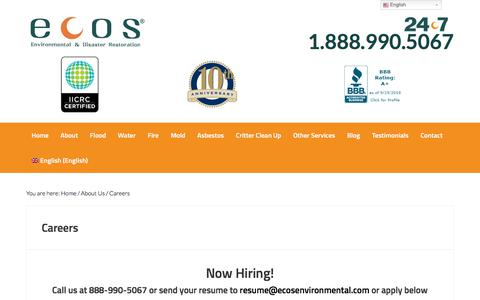 Screenshot of Jobs Page ecosenvironmental.com - ECOS is Now Hiring Excited Individuals | Call 888-990-5067 - captured Sept. 25, 2018
