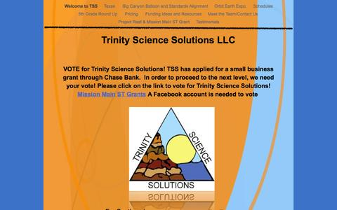 Screenshot of Home Page trinitysciencesolutions.com - Trinity Science Solutions LLC - captured Aug. 15, 2015
