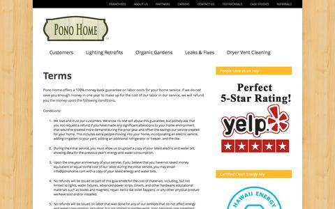 Screenshot of Terms Page ponohome.com - Pono Home   Home Efficiency and Maintenance - captured May 19, 2017