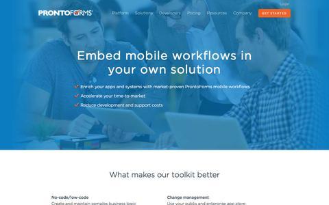 Screenshot of Developers Page prontoforms.com - Mobile Forms Developer Toolkit Integration | ProntoForms - captured March 7, 2017