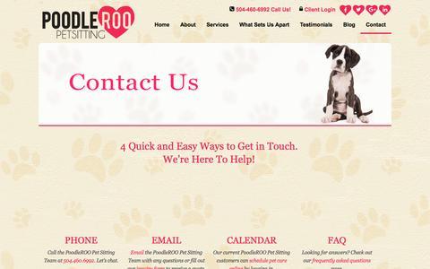 Screenshot of Contact Page poodleroo.com - Contact Us | Calendar Pet Care Online - captured Nov. 8, 2016