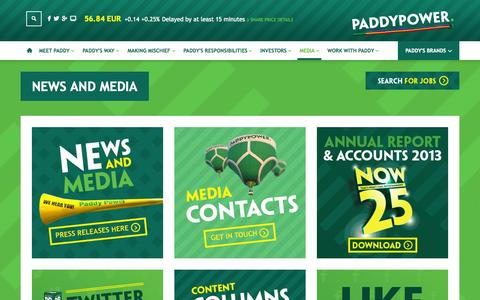 Screenshot of Press Page paddypowerplc.com - News and Media | Paddy Power - captured Oct. 31, 2014